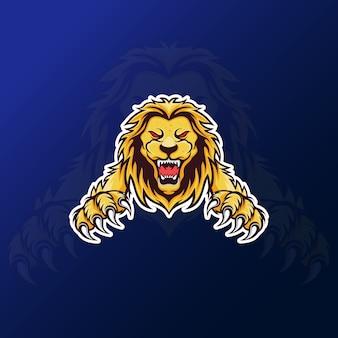 Eスポーツゲームのロゴのための怒っているroライオンのマスコット