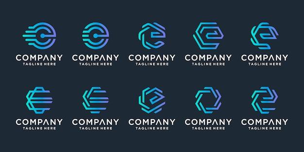 創造的な手紙eロゴデザインテンプレートのセット。 sラグジュアリー、エレガント、シンプルなビジネス向け。