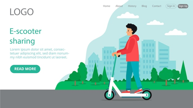 Целевая страница e-scooter sharing