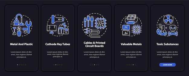 개념이있는 전자 스크랩 부품 온 보딩 모바일 앱 페이지 화면