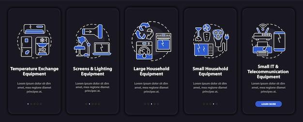 개념이있는 전자 스크랩 유형 온 보딩 모바일 앱 페이지 화면