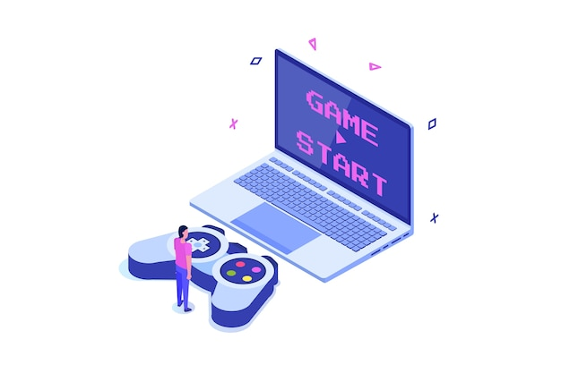 E-sport or cybersport computer gaming isometric concept.