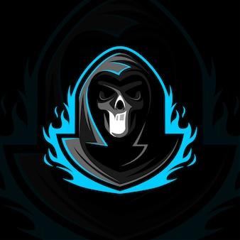 Жнец-талисман с логотипом e-sport design