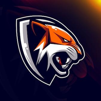 Голова тигра, талисман, логотип e-sport design
