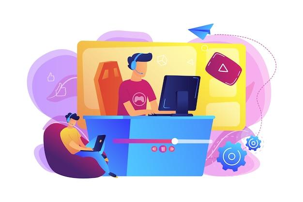 Геймер киберспорта в прямом эфире транслирует онлайн-видеоигры и просматривает их с ноутбука. стриминг киберспорта, живое игровое шоу, бизнес-концепция онлайн-трансляции.