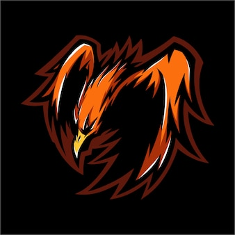 E sport logo fire phoenix ready to attack