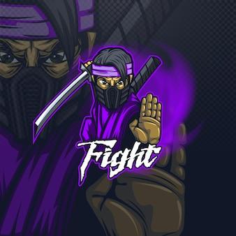 Талисман логотипа e-sport для команды или для печати на футболке с боевым ниндзя.