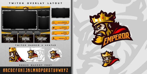 E-sport logo and twitch template of king with crown perfect for e-sport team mascot and game streamer