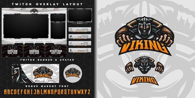 E-sport logo and twitch template of viking knight perfect for e-sport team mascot and game streamer