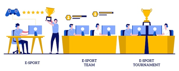 E- 스포츠 팀, 작은 사람들과의 토너먼트 컨셉. cybersport 추상 그림을 설정합니다. 멀티 플레이어 비디오 게임, e 스포츠 챔피언십, 게임 아레나, 온라인 스포츠, 플레이어 팬 지원 은유.