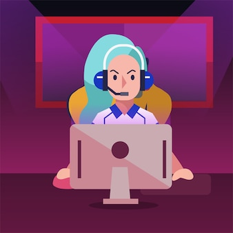 E-sport девушка геймер играет в видеоигру