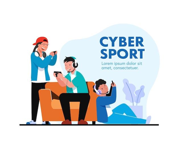 Imboscata degli atleti di e-sport per la grande competizione annuale online con il team di atleti