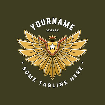 E-sports badge with wing logo template