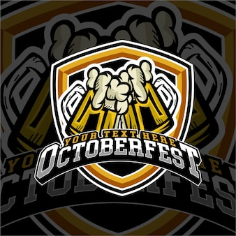 E sports october fest beer logo badge