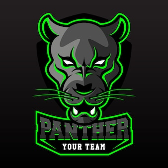 E-sports team logo template with black panther