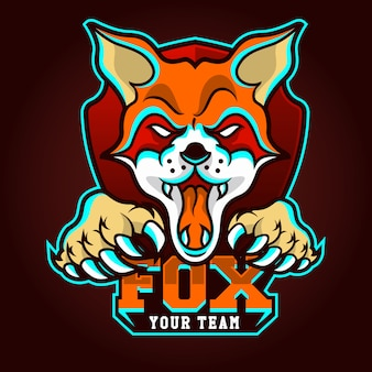 E-sports team logo template with fox