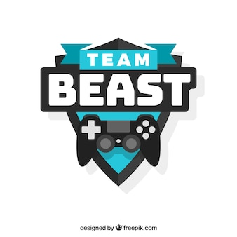 E-sports team logo template with joystick
