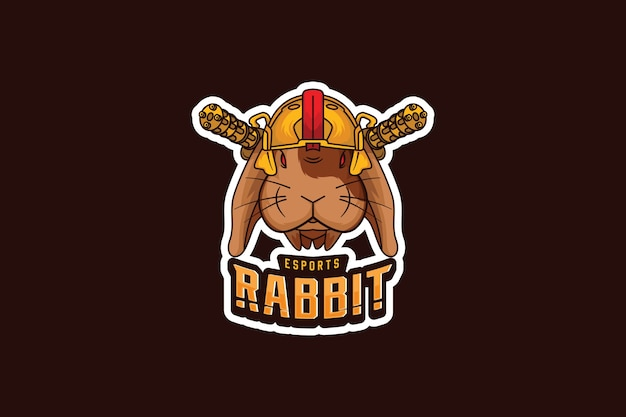 Шаблон логотипа команды киберспорта с кроликом