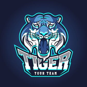 E-sports team logo template with tiger