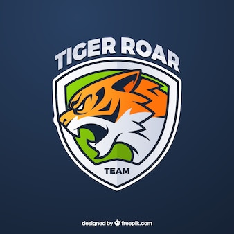 Шаблон логотипа команды e-sports с тигром