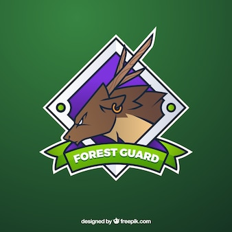 Шаблон логотипа команды e-sports с оленем