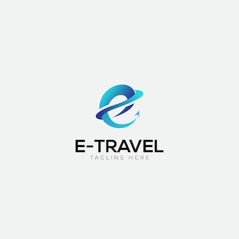 E travel logo with initial e