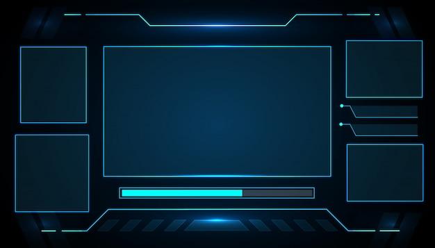 Eスポーツゲームのui未来的なインターフェースのhudコントロールパネルテクノロジーデザイン。
