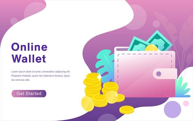 E wallet cartoon on flat design