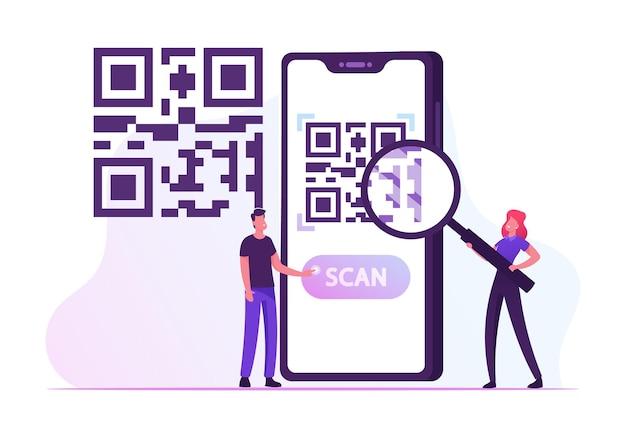 E-wallet, cashless payment technology. cartoon flat illustration