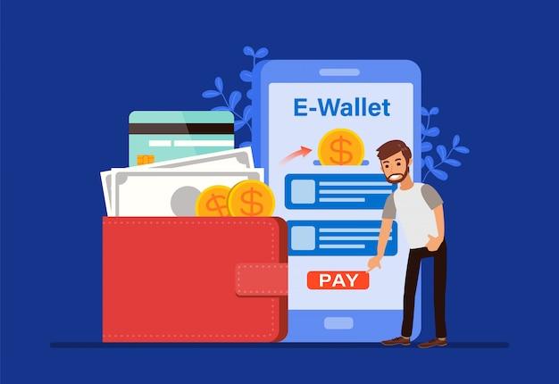 전자 지갑 개념, 사람들이 만화 캐릭터 스마트 폰으로 결제. 모바일 쇼핑 머니 거래 기술. 평면 디자인 스타일 일러스트.