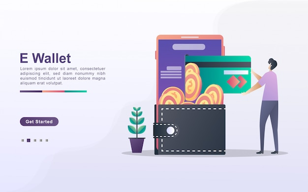 E-wallet concept. people save money online using cards. pay for goods shopping online with a credit card. invest online. can use for web landing page, banner, flyer, mobile app.