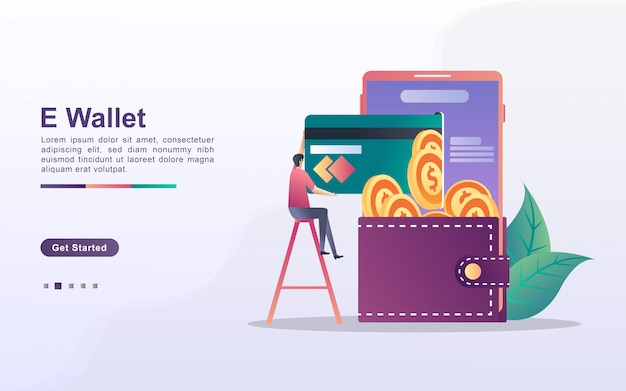 E-wallet concept. people save money online using cards. pay for goods shopping online with a credit card. invest online.