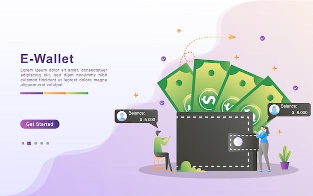 Eウォレットのコンセプト。人々はカードを使ってオンラインでお金を節約します。