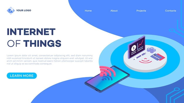 E wallet isometric landing page template with isometric illustration. electronic wallet smartphone app. debit card and mobile phone connection. website interface design. webpage 3d concept.