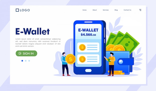 E-wallet landing page website illustration vector