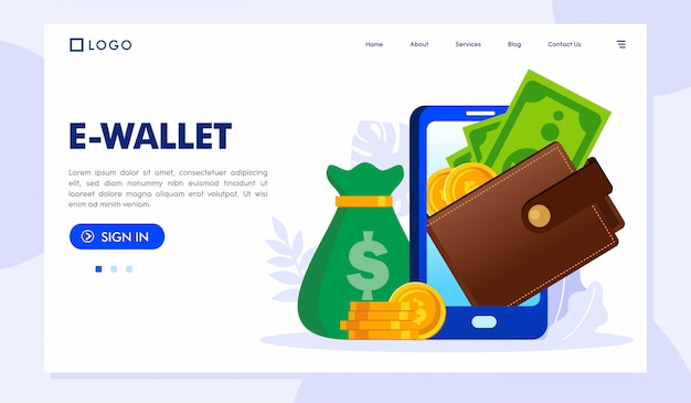 E-wallet landing page website illustration