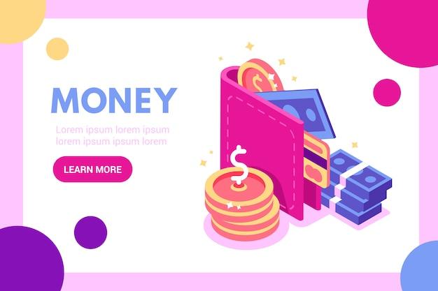 コインと財布、e支払い、キャッシュバック、払い戻しwebバナーの概念スタック