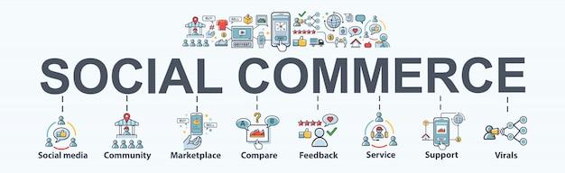 Eコマースとソーシャルメディアマーケティングのソーシャルコマースバナーwebアイコン。