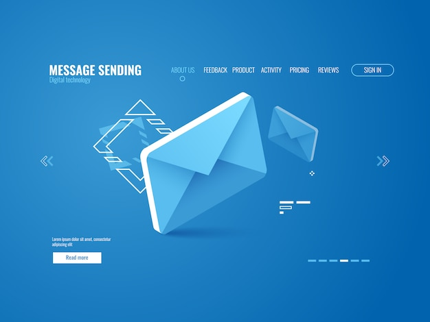 メッセージアイコン、eメール送信の概念、オンライン広告、webページのテンプレート