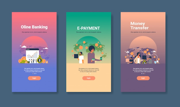 オンラインバンキングのeペイメントと送金の概念別ビジネスコレクションのwebデザインテンプレートセット