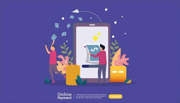 小さな人々のキャラクターとオンラインイラストショッピングeコマース市場のモバイル決済または送金の概念。 webランディングページ、バナー、プレゼンテーション、ソーシャルメディア、印刷メディア用のテンプレート