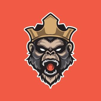 Обезьяна король голова e спорт логотип