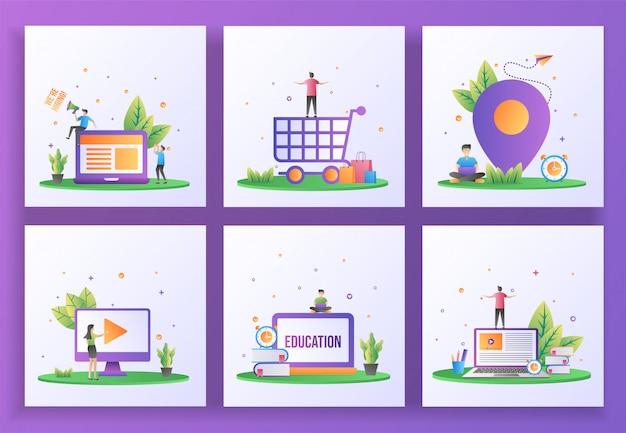フラットなデザインコンセプトのセット。採用、ハッピーショッピング、ロケーション、ビデオプレイ、オンライン教育、eラーニング。