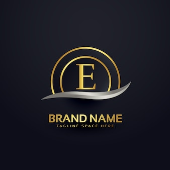 プレミアムレターeロゴデザインゴールデンテンプレート