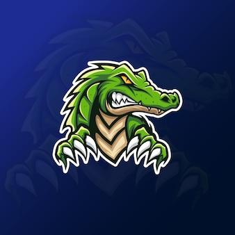 Eスポーツゲーミングロゴ用の緑のワニのワニマスコット