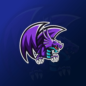 Eスポーツゲームのロゴの紫ドラゴンマスコット