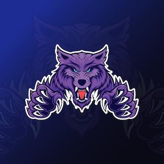 Eスポーツゲーム用の爪のマスコットと怒っているオオカミ
