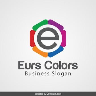 Eのロゴとカラフルな