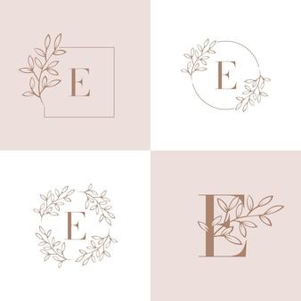 Буква e логотип с элементом листьев орхидеи