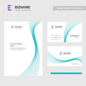 軽いテーマとeのロゴベクトルと会社のパンフレットのデザイン